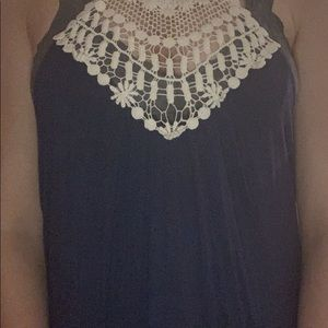 Blush Tops - Navy Blue Long Razor Back Tank Top w White Lace